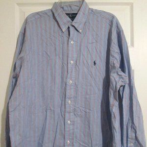 Ralph Lauren Yarmouth Blue Striped Buttoned Top 17